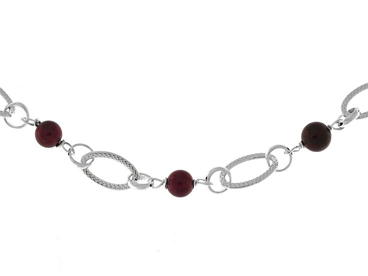 En vie Jewellery 7.4mmIntricate handmade Stirling Silver &Garnet Beads Bracelet,19cmlength. Finished with Lobster Catch.