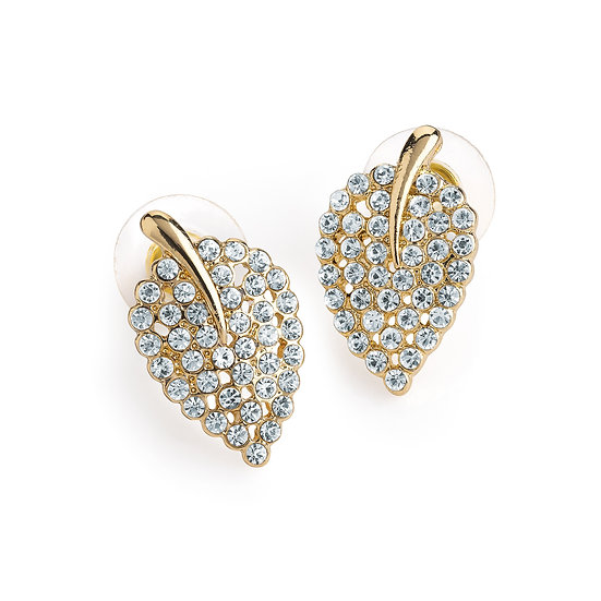 Gold colour crystal lead design stud earring
