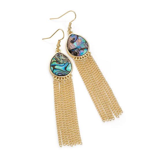 En vie Jewellery Gold colour green shell look chain tassel drop earring