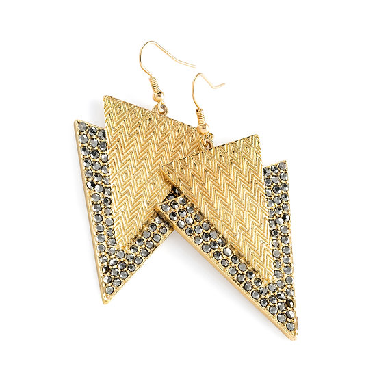 Hematite colour crystal triangle design drop earring