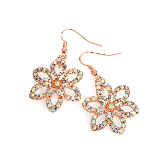 Rose gold and AB crystal colour flower design drop earring
