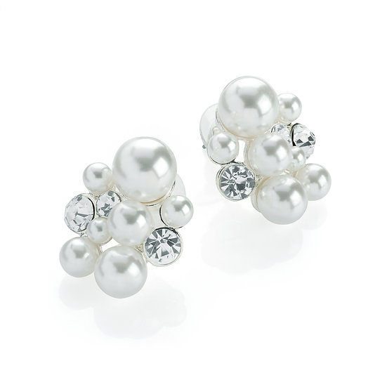 Silver colour white pearl effect crystal cluster design stud earring