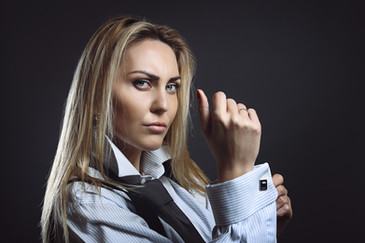Businesswoman with tough expression wear