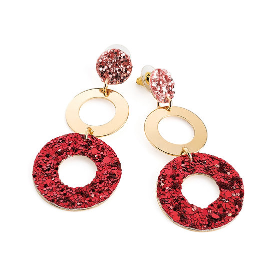 En vie Jewellery Gold colour pink and red glitter effect drop earring