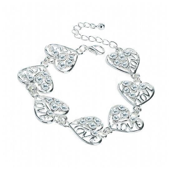 En vie Jewellery Silver colour crystal heart design chain bracelet
