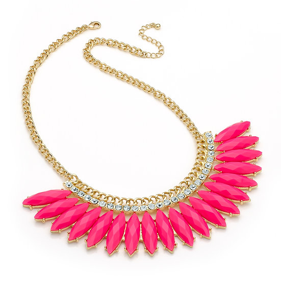En vie jewellery Shiny gold colour crystal, bright pink spray design necklace