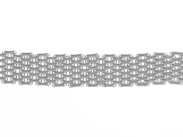En-Vie™ jewellery Silver men's 6-brick Handmade Bracelet, 19cm. A solid bracelet, finished with designer bolt ring