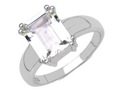 En-Vie™ jewellery Stunning Silver and White Topaz Ring, Sizes K, L, O & Q.