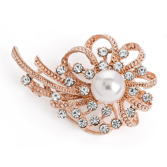Rose gold crystal white pearl effect brooch