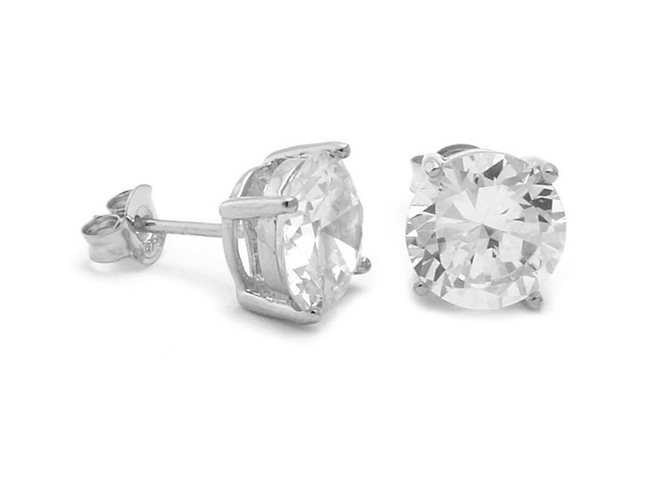 En-Vie™ Jewellery Silver and Round CZ Stud Earrings, 7mm. Approx. weight 1.71 GMS