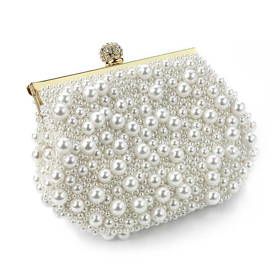 Gold and cream pearl colour bead crystal clutch bag
