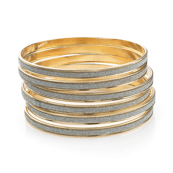 6 piece gold colour silver glitter bangle set