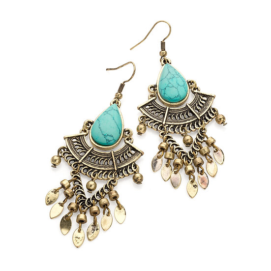 Burnished gold turquoise effect marble tribal earrings