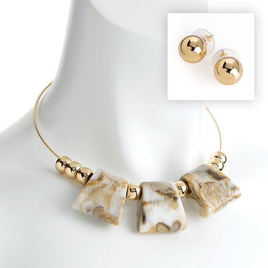 Gold and white marble effect bead wire necklace and earrings