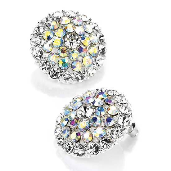 Crystal and AB colour crystal round earring