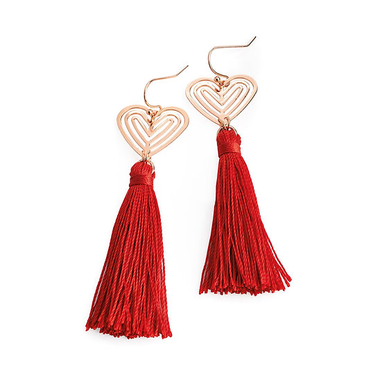 En vie Jewellery Rose gold and red thread heart design tassel drop earring