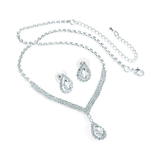 Silver colour crystal tear drop necklace and earring set