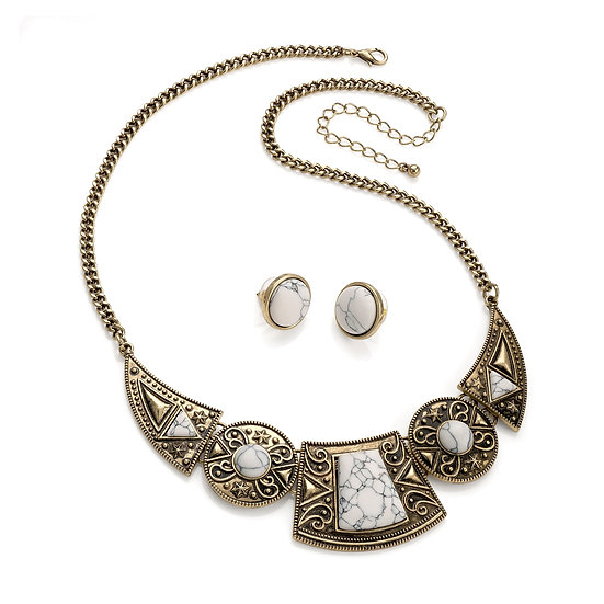 Burnished gold and white marble tribal look necklace