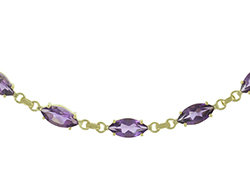 En vie Jewellery 9ct Gold Amethyst Bracelet 6 X 12mm Marquise cut claw set Amethyst (8 in total) 19cm length