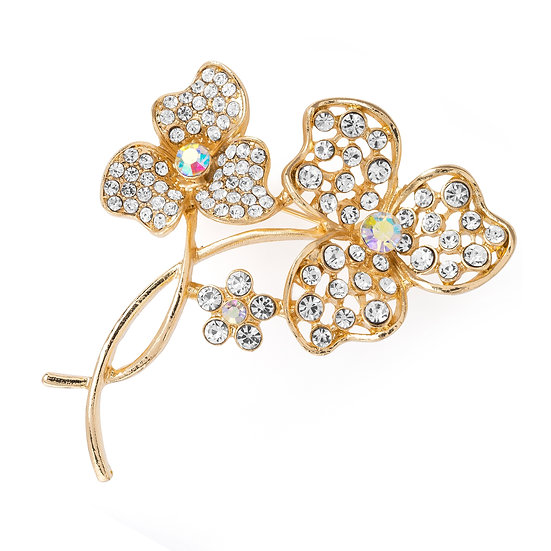 Gold colour crystal and AB crystal design brooch