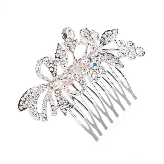 Silver colour crystal flower design hair comb
