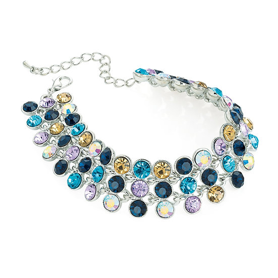Rhodium multi blue tone crystal bracelet