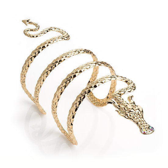 Gold colour AB crystal dragon design cuff bangle