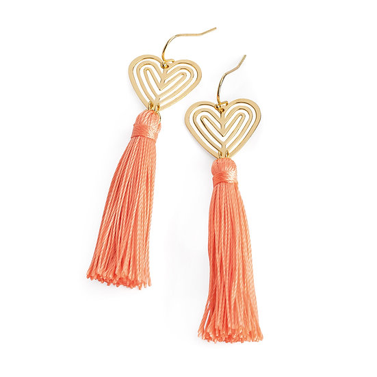 En vie Jewellery Gold colour and peach thread heart design tassel drop earring