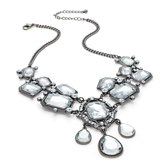 En vie Jewellery Hematite grey colour crystal bead chain necklace