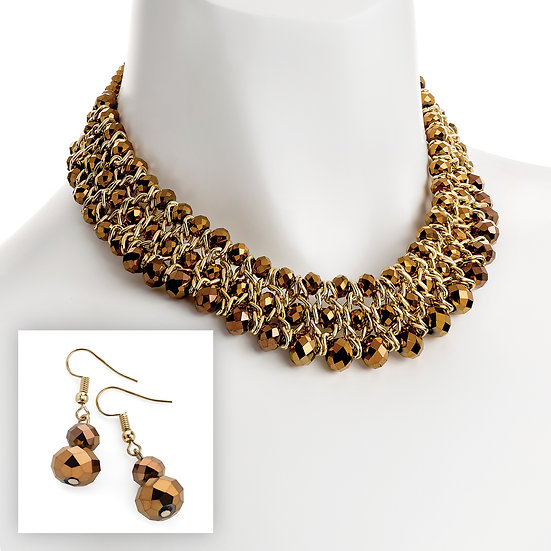 Stunning Brown crystal glass bead necklace and earring set