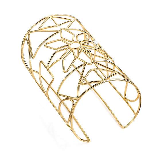 Gold flower design wire cuff bangle