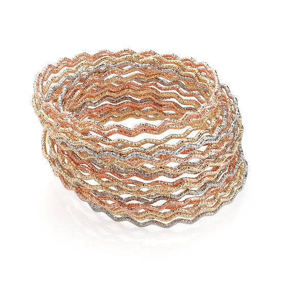 24 piece two tone rhodium, gold and rose gold wavy design bangle set