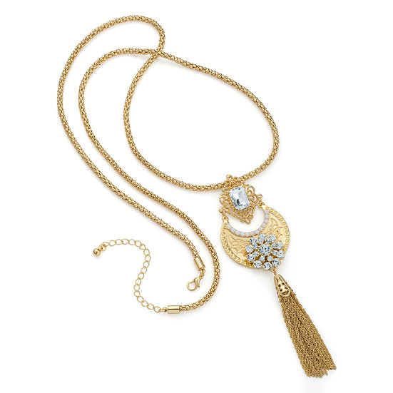 En vie Jewellery Gold colour crystal chain charm necklace