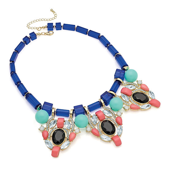En vie Jewellery Shiny gold colour blue, peach and black bead statement necklace