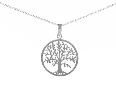 "En-Vie™ Jewellery Silver Tree Of Life Pendant, 24mm, Round on 18"" 1.2mm Round Curb Chain, 46CM. Matching Earrings available"