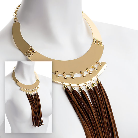 Gold statement collar necklace with brown cord tassels