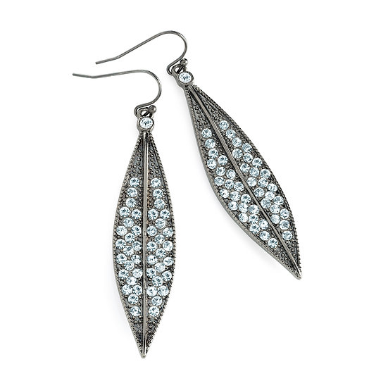 En vie Jewellery Hematite colour crystal leaf design earring