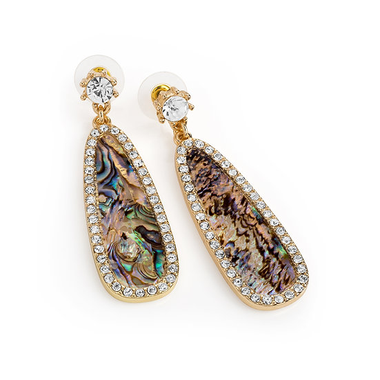En vie jewellery gold colour crystal blue shell effect oval drop earring
