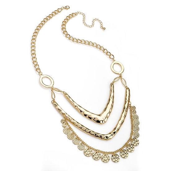 En vie Jewellery Three row shiny gold colour charm chain necklace