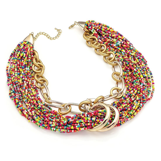 En vie Jewellery Shiny and matt gold colour multi seed bead look chain necklace