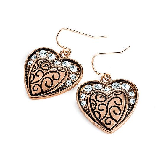 Antique rose gold colour crystal heart design earring