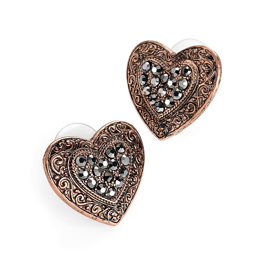 En vie jewellery burnished rose gold and hematite colour heart design stud earring