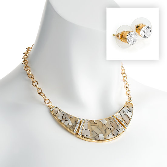 Gold crystal and white marble chain necklace and stud earrings