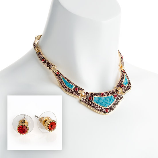 Gold, red and turquoise crystal enamel necklace set