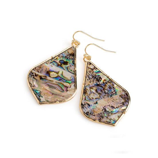 En vie jewellery gold colour blue shell effect oval drop earring
