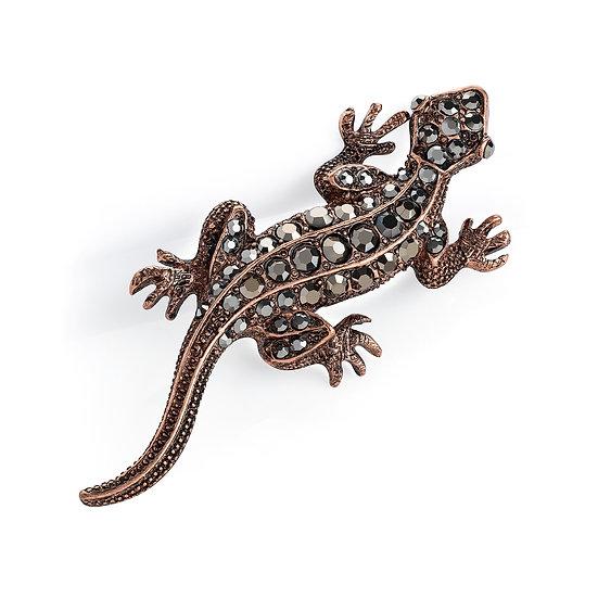 Burnished rose gold & hematite crystal lizard brooch