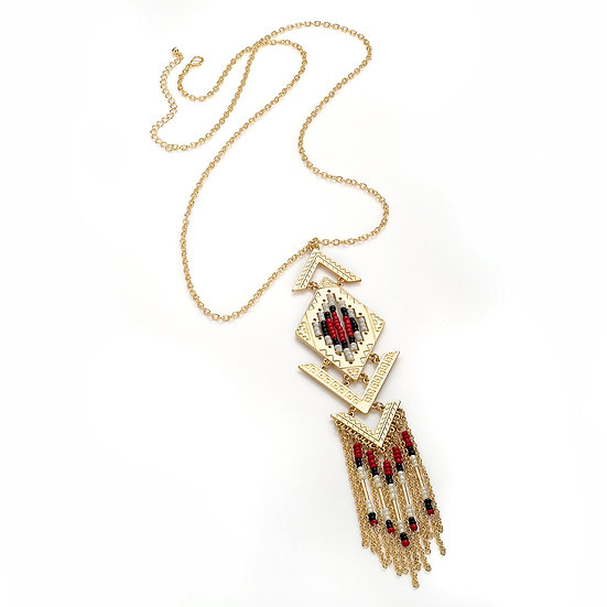 En vie jewellery gold colour red tone bead chain tassel necklace