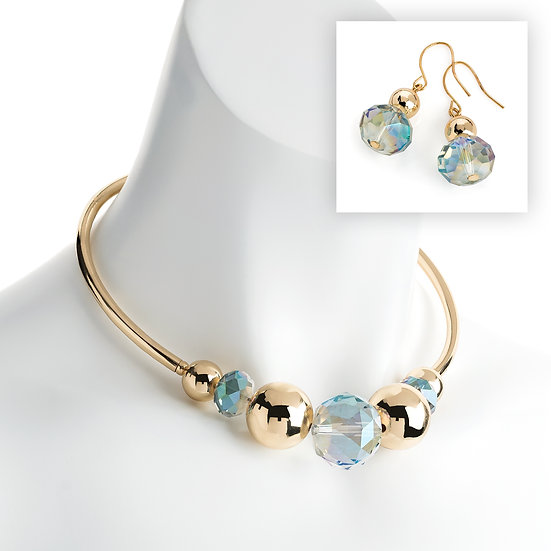 Gold colour AB blue effect bead collar necklace & earrings