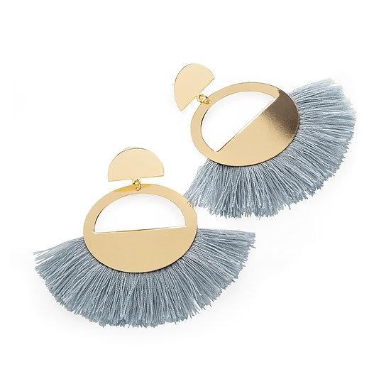 En vie Jewellery Gold colour grey thread tassel round earring