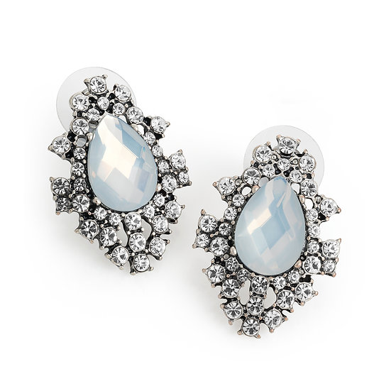 Burnished silver and white opal colour crystal stud earring